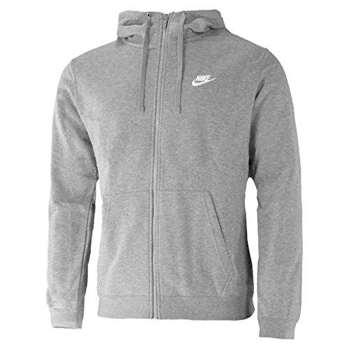 Nike Herren Hoodie M NSW CLUB FZ FT,Grau (Dark Grey Heather/White), M