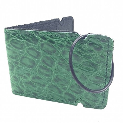 Sunfish Leather Cash Cover Wallet Green Croc
