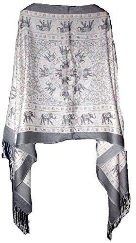 Highwaypay Elephant Design Shawl Pashmina Scarf Wrap Stole Throw Yoga Boho Indian Gypsy Hippie Floral Paisley 2385
