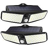 LITOM Solar Lights Outdoor Garden, [2 Pack] 100 LEDs Motion Sensor Light Outdoor,【1800mAh】Solar