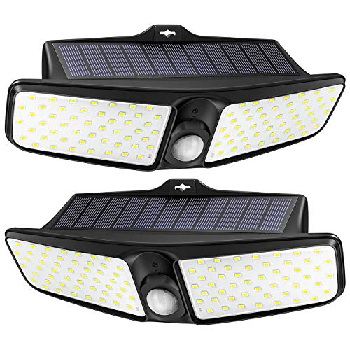 LITOM Luces solares para exteriores, [2 unidades] 100 luces LED solares de seguridad de 270 ° gran angular para exteriores, luz de pared para jardín, patio, garaje, valla [clase energética A+++]