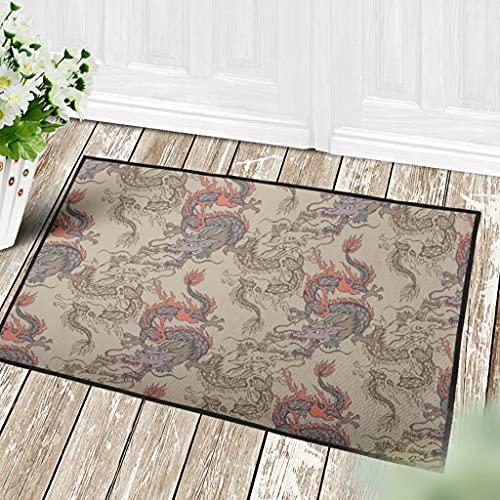 Veryday Felpudo chino, diseño de dragón y nube, para la puerta del hogar, color blanco, 50 x 80 cm