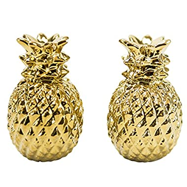 Golden Pineapple Salt & Pepper Shakers,  Hand-painted Ceramic by Boston Warehouse
