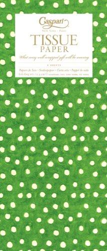 Carta velina Caspari 88324TIS stampato su un lato con il design, piccoli punti, verde