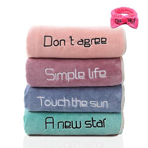 JSPYFITS Toalla de microfibra premium súper suave absorbente toalla de franela toallas de secado para colgar toalla de mano para baño con 1 paquete encantador lazo diadema regalo 35 x 75 cm