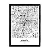 Nacnic Poster mit Karte von Atlanta - USA. Blätter von