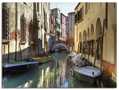 Artland Leinwandbilder Wandbild Bild auf Leinwand 40x30 cm Städte Italien Venedig Fotografie Gelb Boote auf Kanal in Venedig T0WC