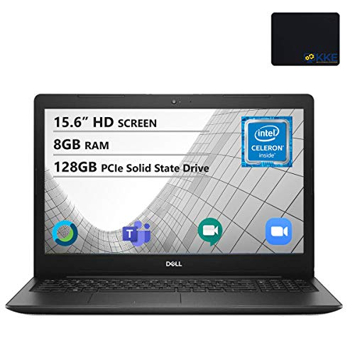 "Dell Inspiron 15.6"" HD Laptop, Intel 4205U Processor, 8GB DDR4 Memory, 128GB PCIe Solid State Drive, Online Class Ready, Webcam, WiFi, HDMI, Bluetooth, KKE Mousepad, Win10 Home, Black"