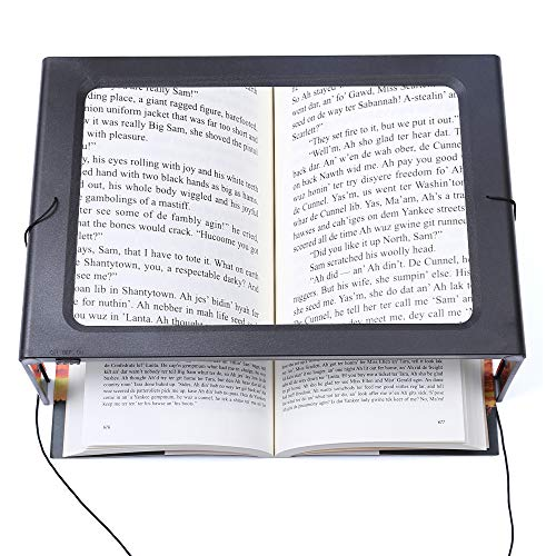 Hands-Free Magnifying Glass Large Full-Page Rectangular 3X Magnifier LED Lighted Illuminated Foldable Desktop Portable for Elder