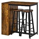 HOMCOM Bartisch-Set Stehtisch mit 2 Barhockern 3-teiliges Tischset Küchentresen mit 3-stufiges...