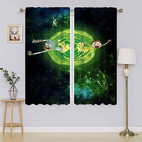 lacencn Rick and Morty Cortina de ventana con ojales, con tratamiento de ventana superior, cortinas de eficiencia energética para dormitorio de 72 x 63 cm