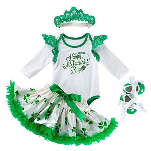 St. Patricks Day Babykleidung Outfits Mode Grün kleeblatt Langarm Strampler Tops + Bowknot tutu Rock + Haarband und Schuhe 4 Stücke Set Neugeborene Baby Mädchen irischer klee Bekleidung