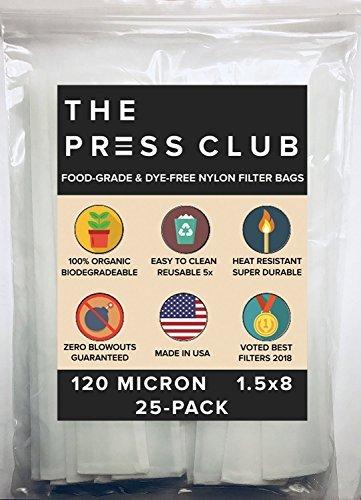 The Press Club 120 Micron 1.5' x 9' Premium Nylon Tea Filter Press Screen Bags 25 Pack