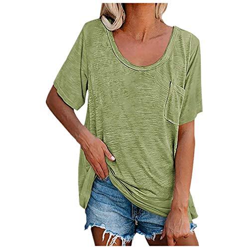 T-Shirt Damen Sommer Kurzarm Oberteile Casual Rundhals Einfarbig Tee Tops Lose Basic Shirt O-Ausschnitt Sommershirts Tshirt mit Taschen Hemd Bluse Female Teenager Mädchen