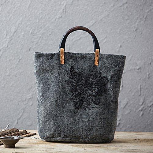 Eolico nazionale libero mobile spalla baodan borsette donne ricamatrici sacchi di tela ricamati a mano Sacco biancheria,Tie-dye lavare vecchio nero