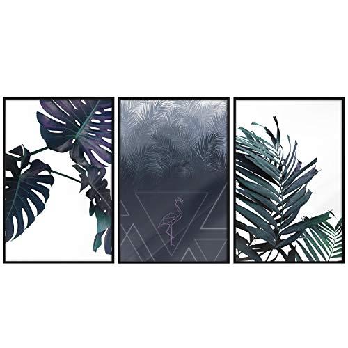 decomonkey | Poster 3er – Set schwarz-weiß Abstrakt Kunstdruck Wandbild Print Bilder Kunstposter Wandposter Posterset Monstera Flamingo Blätter Grün Palmen