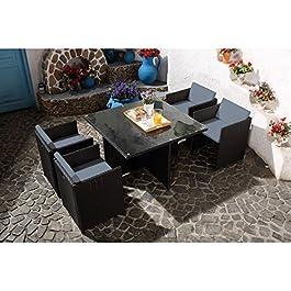 CONCEPT USINE – Salon De Jardin Miami 4 Personnes en Résine Tressée Noir Poly Rotin – 1 Table en Verre – 4 Fauteuils…