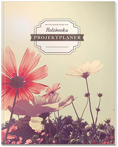 DÉKOKIND Projektplaner | DIN A4, 100+ Seiten, Register, Kontakte, Vintage Softcover | Für über 50 Projekte geeignet| Motiv: Blumenwiese