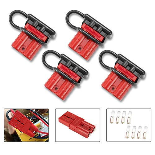 BUNKER INDUST 50A 6-10 Gauge Battery Quick Connect Disconnect Wire Harness Plug Kit 4 Pcs Battery Cable Quick Connect Disconnect Plug for Winch Auto Car Trailer Driver Electrical Devices,Red