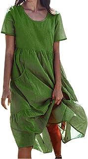 Lialbert Strandkleid Damen Leinenkleid Rundhals Maxikleider Kurzarm Henley Shirt Casuel Hemdkleid T-Shirt-Kleid Sommerkleid Frauen Swing-Kleid