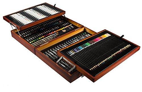 Mont Marte Premium Malset Deluxe – 174-teilig – Hochwertiger Malkoffer aus Holz mit essentiellen Malmedien – Acryl-, Aquarell-, Öl-, Pastellfarben, Stifte, Pinsel und vieles mehr