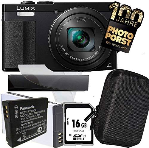 1A Photo PORST Jubiläums Angebot Panasonic Lumix TZ71 EG-K schwarz Digitalkamera+SD 16 GB Speicherkarte+Tasche+Display-Schutzfolie+Ersatzakku+Mikrofasertuch