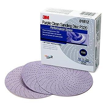 3M 01812 Hookit 334U Purple 6  P320C Grit Clean Sanding Disc
