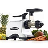 Omega TWN30S Twin Masticating Juicer Makes Continuous Fresh Fruit Vegetable and Wheatgrass Juice with Stainless Steel Gears and Low Speed, 150-Watt, Silver