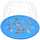 ODOLAND 噴水マット 噴水おもちゃ 噴水池 プレイマット ビニール プール 子供 キッズ 水遊 (ブルー, 1.7M)