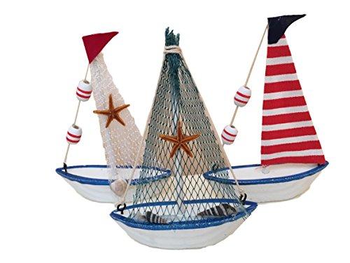 MEIERLE & Söhne 3 unidades de decoración de alta calidad de barcos y barcos para decoración de mesas, escaparates, fiestas, decoración de mesa, velero, playa, mar o vacaciones.