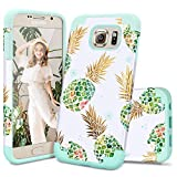 Samsung S6 Case,S6 Case,Casewind Samsung Galaxy S6 Case Pineapple Design Hard PC Soft Silicone Hybrid Protective Shockproof Bumper Scratch-Resistant Phone Cover Galaxy S6 Case for Girls,Mint Green