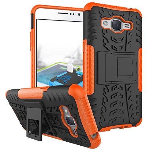 Coque pour Galaxy Grand Prime ,Double Couche Antichoc Protection avec Support Coque pour Samsung SM-G530AZ Galaxy Grand Prime / SM-G530FZ SM-G530P SM-G530H SM-G530M SM-G530Y Coque Etui Cover Orange