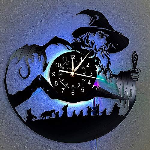 Il Signore degli Anelli Orologio da parete in vinile Record LED 12 'Orologio al quarzo CD in vinile | Decorazioni per interni fatti a mano |Lampada a sospensione Orologio da parete luminoso a 7 colori