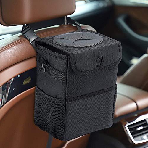 Dyforce Cubo de basura para coche con tapa y bolsillos de almacenamiento, organizador de coche 100% a prueba de fugas, resistente al agua, cubo de basura multiusos para coche, color negro