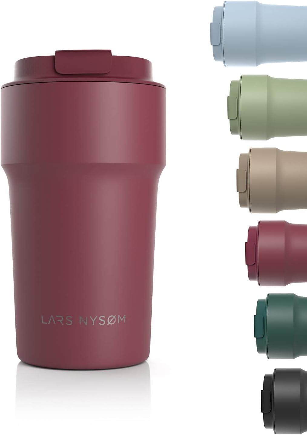 LARS NYSØM Taza térmica café para Llevar 500ml | Termo Café para Llevar sin BPA de 0,5 litros con Aislante | Travel mug de Acero Inoxidable a Prueba de Fugas para el café y el té