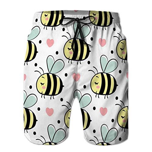 Holefg3b Hombres Summer Surf Swim Trunks Shorts de Playa Pantalones sin patrón Abejas Amor Smal