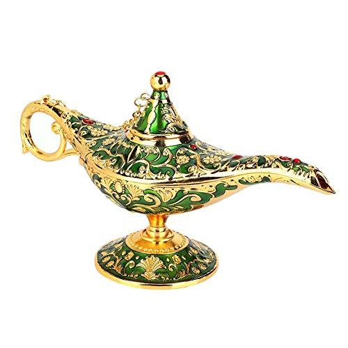 Lámpara de Aladín,Genio de la lámpara,Dorado Lámpara de Aceite Mágica de Aladdin de Aleación de Metal Forma de Tetera con Tallado Retro Decoración del Hogar(Verde)