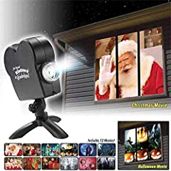 WINDOW PROJECTOR - Projecting holiday movies to windows and gardens Holiday: Halloween, Christmas, turn windows into mobile animations, Santa Claus, Snowman, Moose, etc. Supports 12 videos, 6 Halloween movies, 6 Christmas movies. Use: no need to inst...