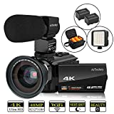 Video Camera 4K Camcorder AiTechny Ultra HD Digital WiFi Camera 48MP 16X Digital Zoom Recorder IR Night Vision 3.0' IPS Touch Screen with Microphone, Wide Angle Lens, LED Video Light, 2 Batteries