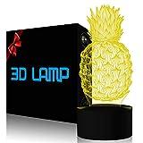 YKLWORLD Ananas-3D-Illusionslampe LED-Nachtlicht 7 Farbwechsel Stimmungslicht Touch-Schalter mit USB...