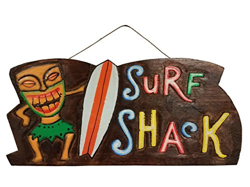 "All Seas Imports 16"" x 7.4"" New HANDCARVED & Painted Wood SURF Shack Wall Decor Sign!"