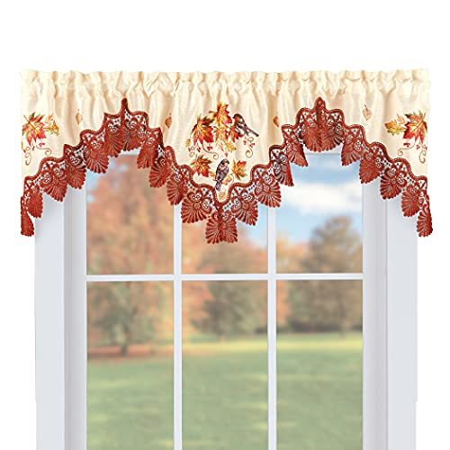 Collections Etc Embroidered Fall Birds Lace Window Valance