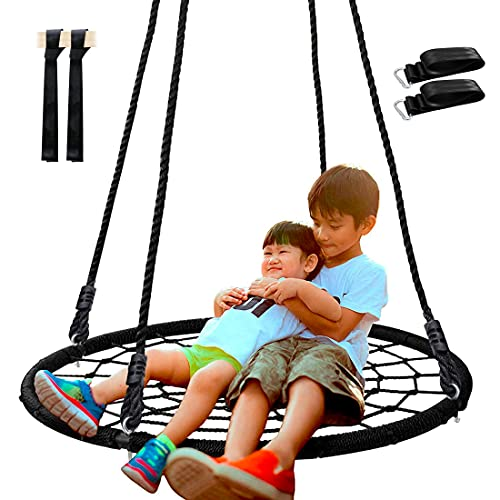 SUPER DEAL 40'' Spider Web Tree Swing Net Swing Platform Rope Swing 71' Detachable Nylon Rope Swivel, Max 600 Lbs, Extra Safe and Durable Steel Frame, Fun for Kids