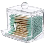 Tbestmax 7 OZ Cotton Swab Pads Holder, Qtip Cotton Buds Ball Dispenser, Bathroom Jar Clear Organizer for Storage 1 Pcs