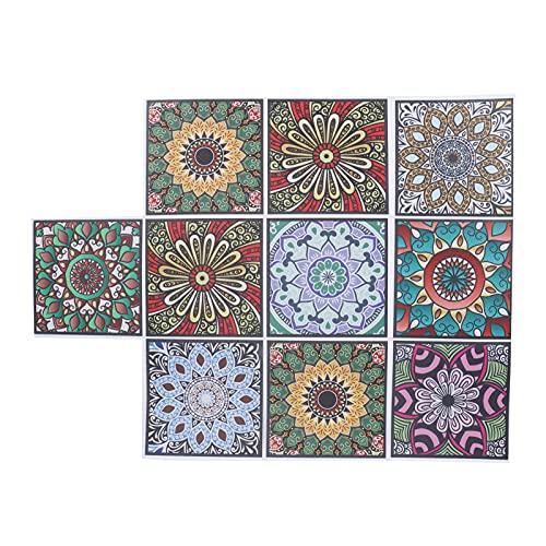 Yosoo123 10 Piezas Autoadhesivas Pegatinas de Pared de Azulejos Impermeables Decorativas Pegatinas de Fondo de Sala de Estar calcomanías para Piso de Dormitorio