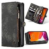 CaseMe para iPhone 12/12 Pro 2020 Funda de Cuero,Multifuncional Flip Folio Zipper Wallet Funda de Piel con Tarjeta Ranuras y Magnetic Back Cover para iPhone 12/12 Pro 6.1'' (Negro)