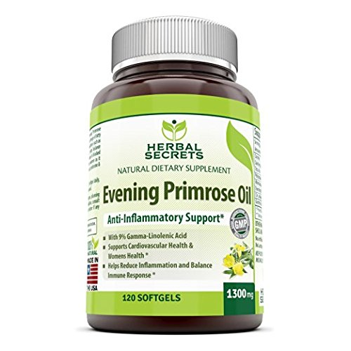 Herbal Secrets Evening Primrose Oil Supplement – High Potency- Contain 9% Gamma Linoleic - 1300mg per Softgels - 120 Easy to Swallow Softgels Per Bottle