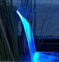 Edelstahl Wasserfallschale inkl. LED Leuchteinheit in Leuchtfarbe BLAU Abmaße: 13,5 x 90 x 10 cm inkl. Trafo Anschluss 1' Innengewinde unten bzw. hinten variabel auswählbar