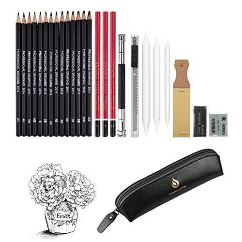 Set di 26 pezzi per schizzi e disegni, matite da disegno e kit di strumenti per schizzi, matite professionali in grafite carbone, ottimo regalo per bambini adulti (nero)