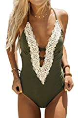 Fabric: Chinlon Plunging neckline; High cut design; With padding bra Occasion: Best Holiday Gifts for Mom, Wife, Girlfriend or Women You Love. Perfect for Tropical Vacations, Summer, Beach & Pool, Honeymoon, Cruise. Garment Care: Regular Wash. Recomm...